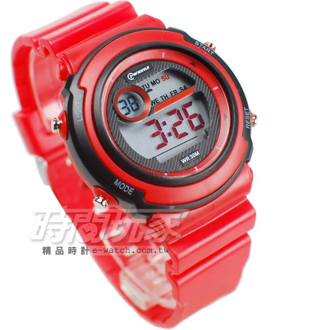 MINGRUI雙色配多功能計時腕錶學生電子錶兒童手錶女錶鬧鈴日期冷光照明MR8567紅