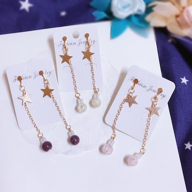 夾式耳環獨家設計爆裂紋水晶星星鍊條夾式耳環