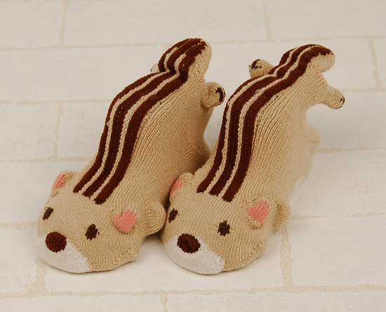 POMPKINS BABY日本3D動物造型襪子兒童襪淡棕色松鼠