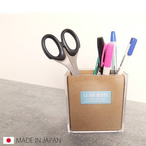 日本製透明收納盒壓克力收納桌面收納筆桶雜物桶雜物筒文具收納SI0157 Loxin