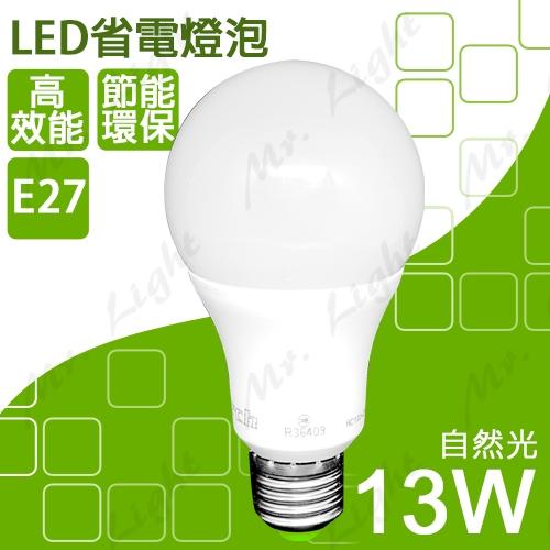 【有燈氏】LED E27 13W 球泡 全電壓 自然光 省電燈泡 球型 亮度高達15W 台灣製【MH-R51060】