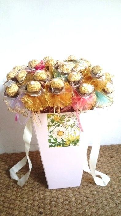 金莎巧克力含花桶50支婚禮小物HT-181