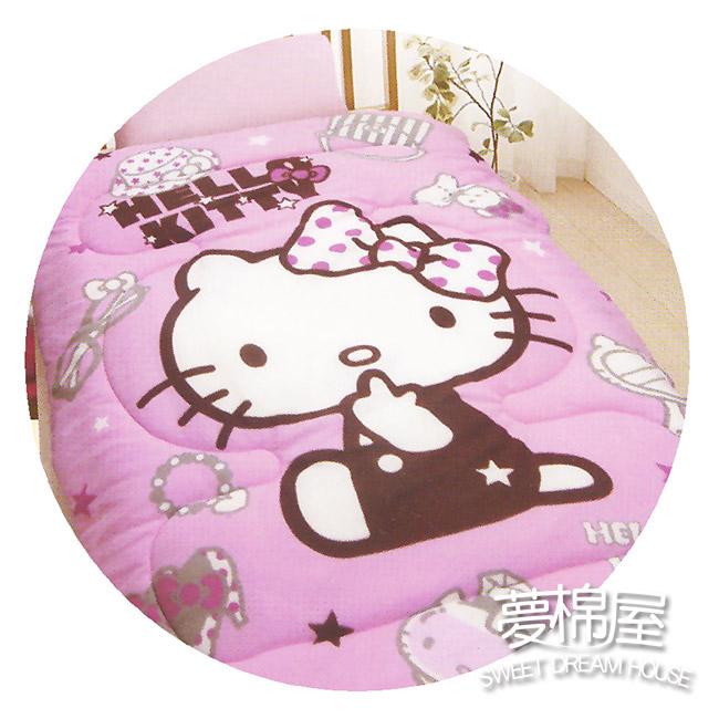 夢棉屋hello kitty凱蒂貓-時尚寶盒-粉搖粒絨刷毛暖暖被毯被正版授權台灣製造品質有保障