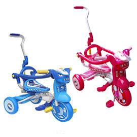 佳兒園婦幼館兒童折疊式三輪車-新幹線藍粉