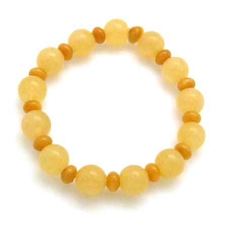 蜜糖黃玉圓珠與黃玉扁珠彈性手環