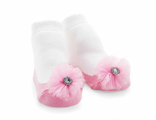 瑪麗珍短襪組: 粉紅雪紡花: 1542048
