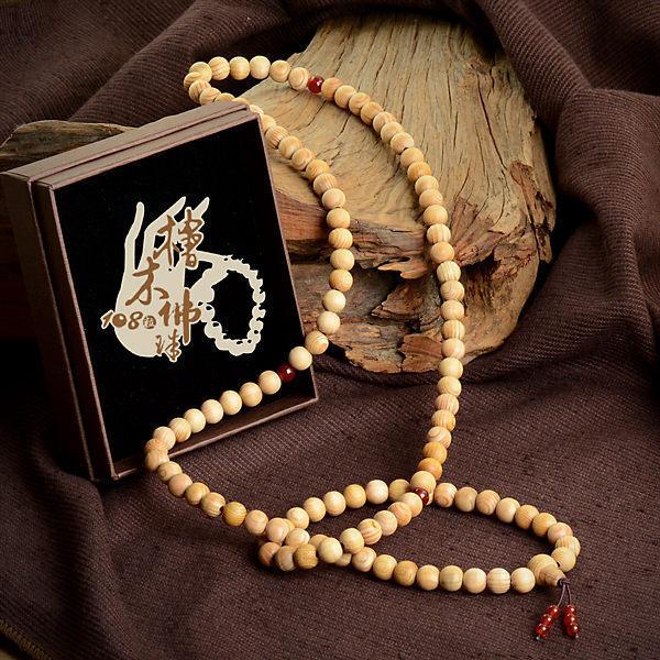 臺灣檜木佛珠108粒 8mm (紅)|又稱念珠,選用台灣檜木手珠製成,可當佩珠手串用