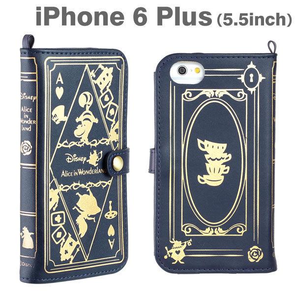Hamee迪士尼Disney古老魔法書系列側翻式皮套iPhone6 Plus手機殼愛麗絲深藍19-829660