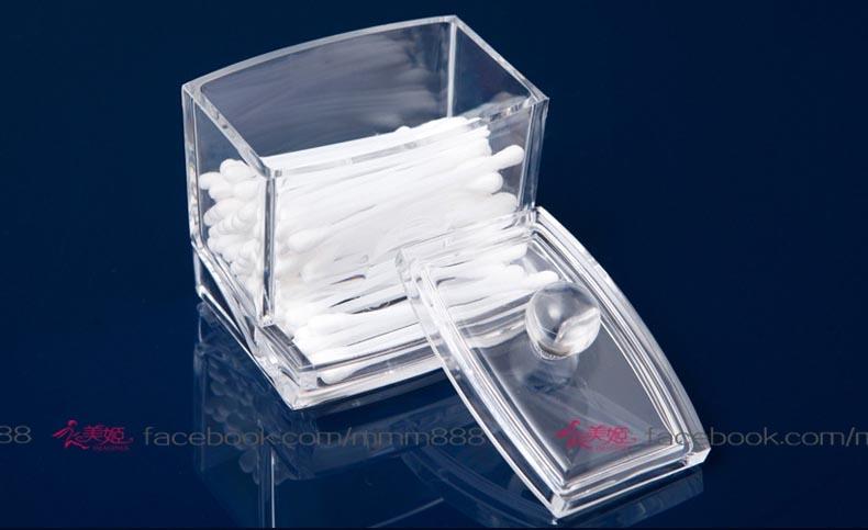 衣美姬優雅透明小收納盒首飾盒棉花棒盒