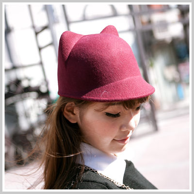 Lena愛用超萌可愛立體貓耳毛尼馬術小圓帽O1106 City mood雙兒網
