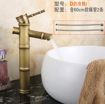 仿古龍頭歐式全銅仿古水龍頭浴室冷熱藝術台盆竹節龍頭D2