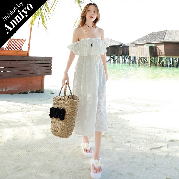 Anniyo安妞一字領多穿法氣質浪漫海邊度假波西米亞長裙純色蕾絲沙灘裙連衣裙中長款洋裝白色