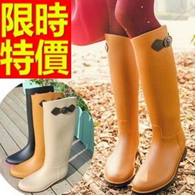 雨靴-女雨具防水高雅防滑女長筒雨鞋10色54k38[時尚巴黎]