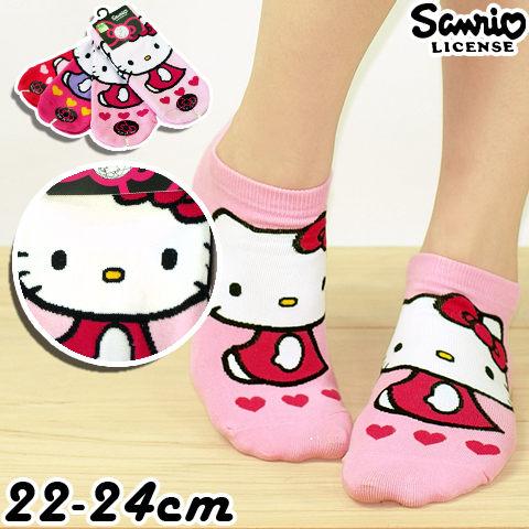 【esoxshop】日本Sanrio Hello Kitty 直版襪-三愛心│KT-A541│正版授權《凱蒂貓/棉襪/造型襪/短襪/踝襪》