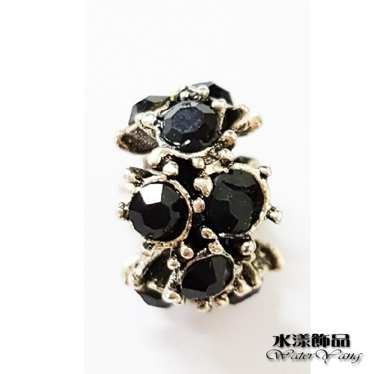黑色時尚交錯點鑽散珠 潘朵拉DIY串珠