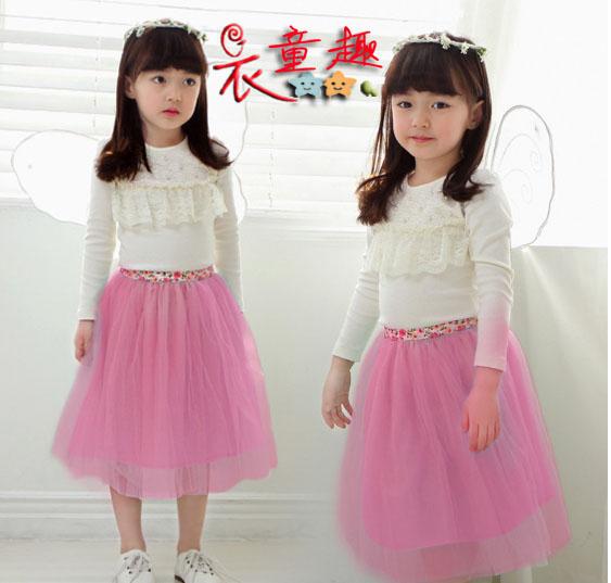衣童趣韓版女童糖果色造型澎澎紡紗裙甜美半身裙短裙多色可選四碼六色