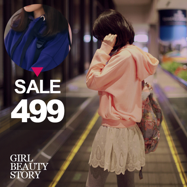 SISI【L6085】東大門韓范兒學院甜美風長袖連帽拼接雕花裙襬假兩件連身裙上衣