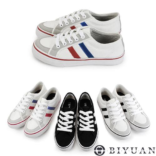 (女鞋)休閒鞋【QX10】OBI YUAN韓系百搭拼接雙線條帆布鞋 共3色