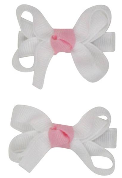 俏麗蝴蝶結髮夾: 天使白粉: RB-HB-70313