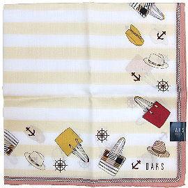 【波克貓哈日網】日系DAKS 手帕領巾◇黃色條紋粉邊◇《50x50 cm》