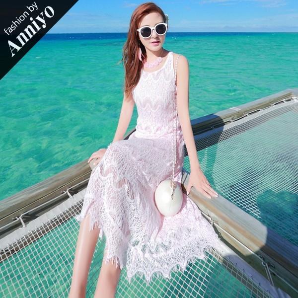 Anniyo安妞‧無袖氣質修身顯瘦波西米亞風海邊度假蕾絲流蘇沙灘裙長裙連衣裙長洋裝 粉色