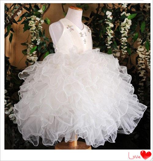 3C膜露露定制2014白色兒童禮服裙公主裙寶寶生日禮服背心花童裙寶寶特價促銷款