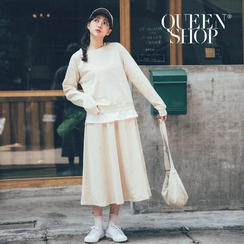 Queen Shop【01084582】假兩件上衣棉質長裙套裝 兩色售*現+預*