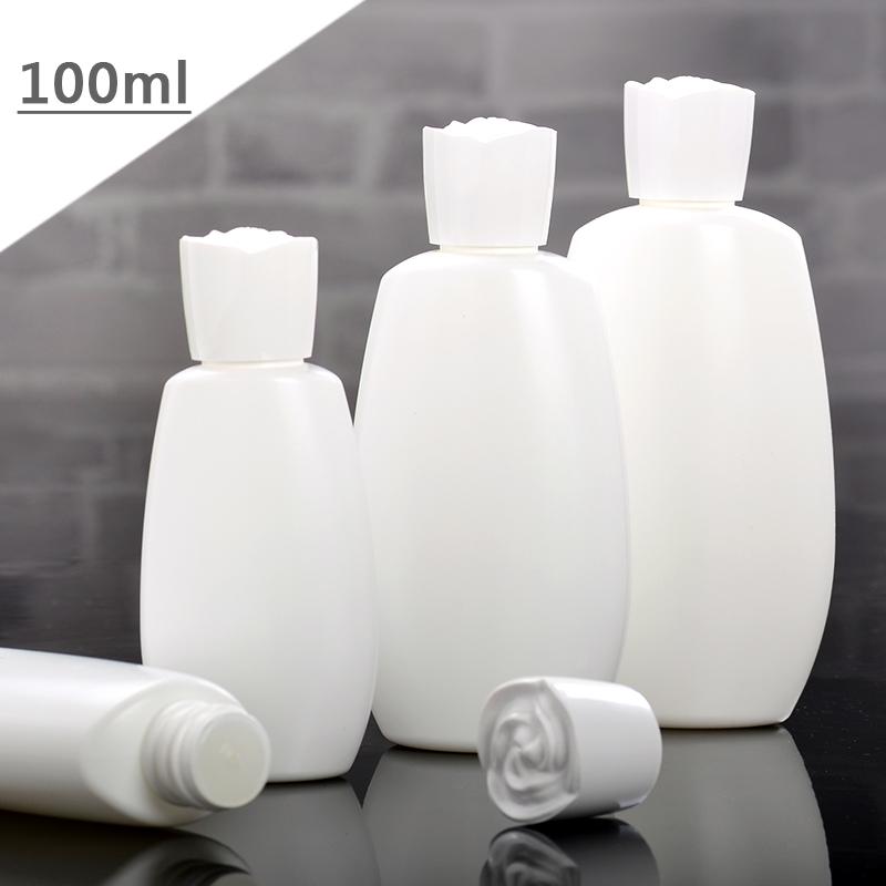 『藝瓶』瓶瓶罐罐 空瓶 空罐 化妝保養品分類瓶 白色玫瑰造型旋轉蓋/軟管分裝瓶-100ml