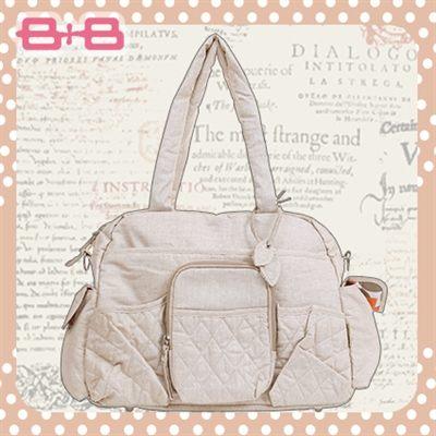 休閒純靜側背媽媽包-褐尿布墊保溫袋多功能肩揹側背媽咪包HAPPY B B E-95193-B