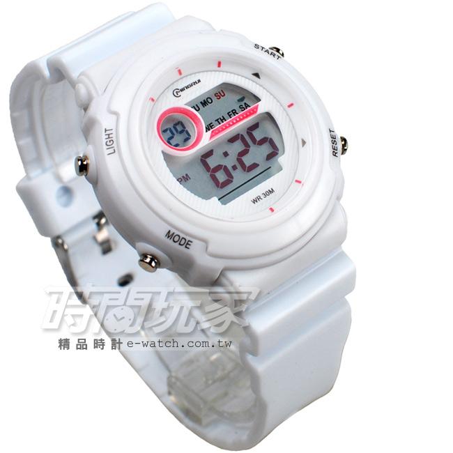 MINGRUI雙色配多功能計時腕錶學生電子錶兒童手錶女錶鬧鈴日期冷光照明MR8567白