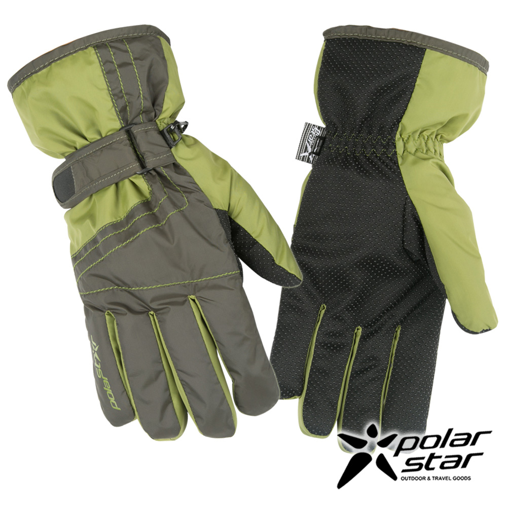 PolarStar男防水保暖透氣手套橄欖綠P16611防風手套防滑手套刷毛手套機車手套