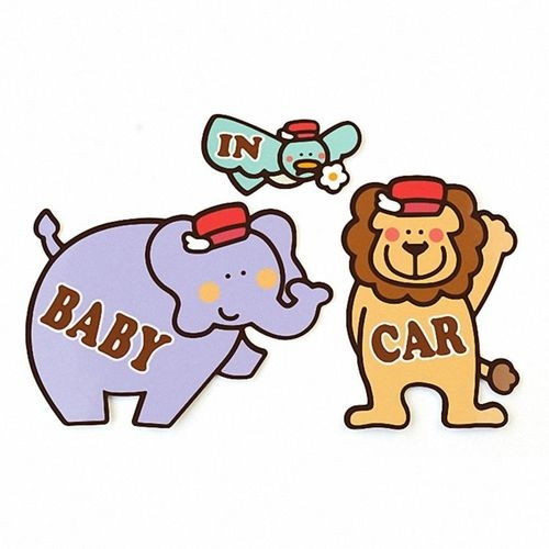 Kikka日製車用造型磁鐵組BABY IN CAR-大紫象.青鳥.獅子衛立兒生活館