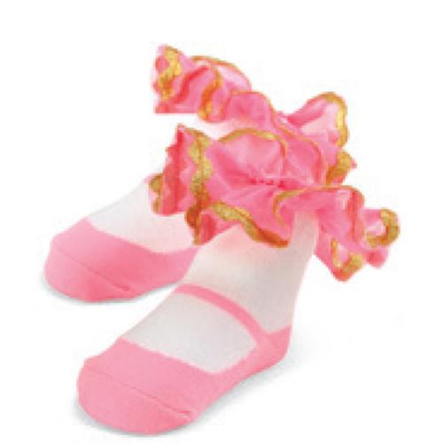 瑪麗珍短襪組: 粉金荷葉: 1542115