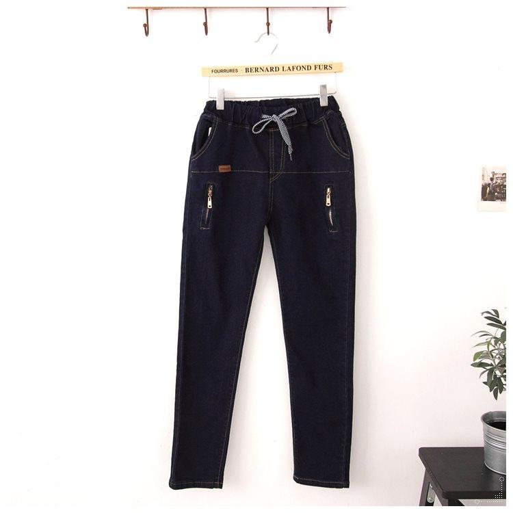 梅梅露*【69010146】牛仔褲。彈性綁帶拉鍊個性長褲