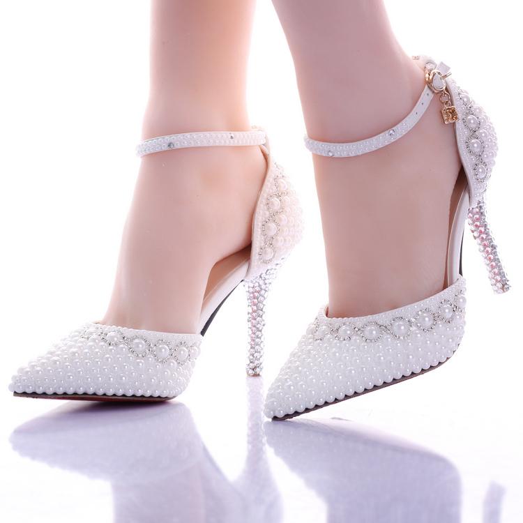 珍珠水鑽婚鞋超高跟細跟拍婚紗照鞋尖頭新娘鞋女涼鞋  :666120036