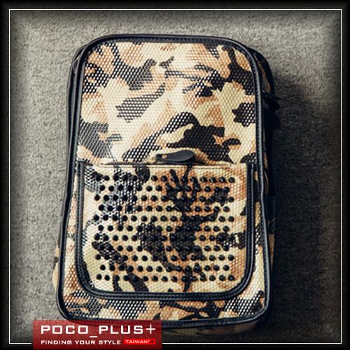 PocoPlus正韓直達豹紋後背包方形後背包電腦包休閒雅痞李敏鋯明星款手拿包B400