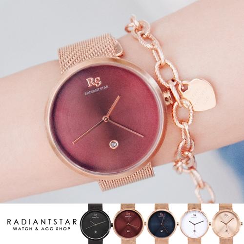 RS品牌手錶品牌自訂RADIANTSTAR夢想起航日期顯示米蘭鍊帶手錶WRS9028璀璨之星