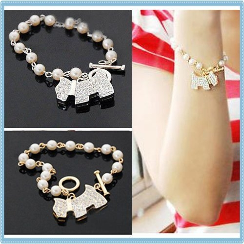 手鍊   韓版時尚飾品 可愛鑲鑽 珍珠滿鑽 狗狗手鏈