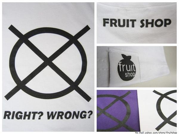 圈叉個性圓領上衣‧白色‧棉T-【Fruit Shop】