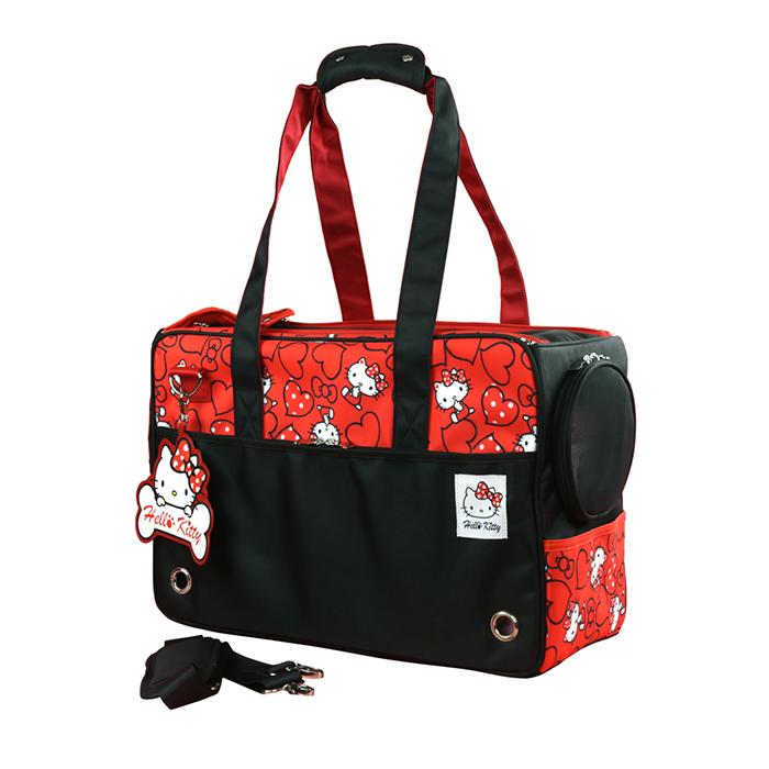 Hello Kitty凱蒂貓正版授權雷樂士寵物包外出籠時尚黑YV8881快樂生活網