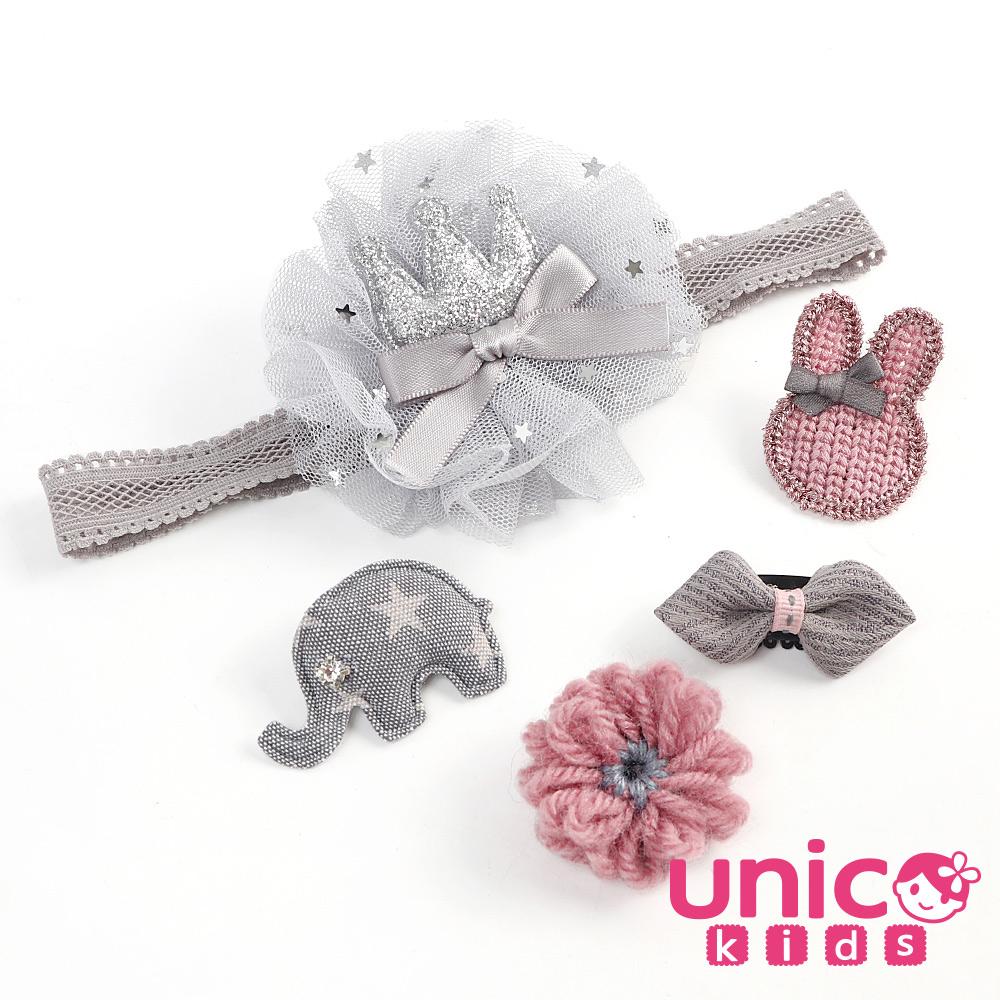 UNICO 兒童 少髮量寶寶甜美雪紡灰髮帶安全髮夾組合-5入組