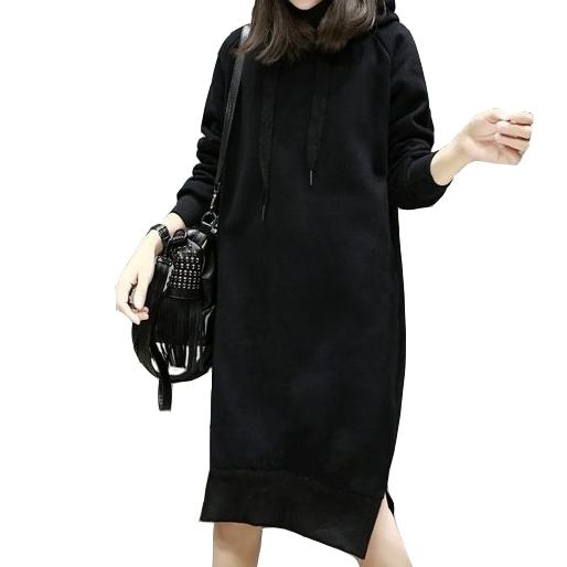 寬鬆內刷絨連帽雙口袋長袖連衣裙 (黑  酒紅) 11752028