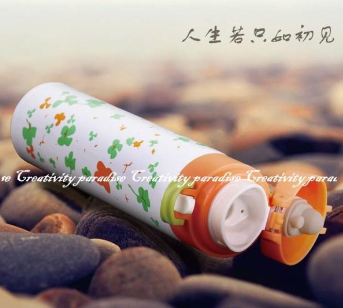 【花朵保溫杯】炫彩靚麗彈蓋式304不銹鋼雙層 真空保溫壺 不鏽鋼保溫瓶
