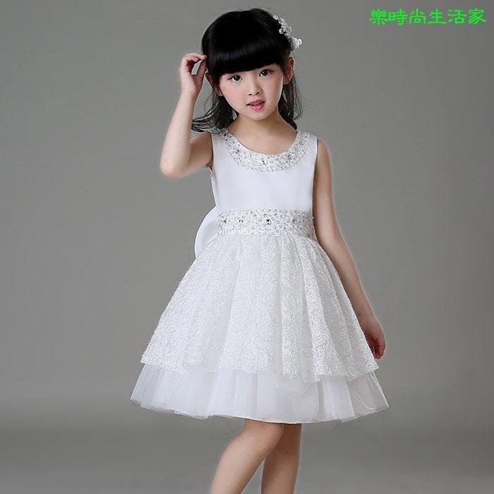 2017兒童蓬蓬裙女童白色禮服婚纱公主裙纱裙禮服
