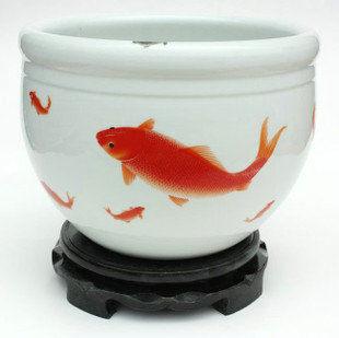 陶瓷 養魚盆 睡蓮  鯉魚跳龍門 家居