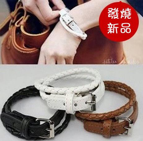 韓版男女通用情侶版時尚多層編織皮帶式手鏈手鐲B3003