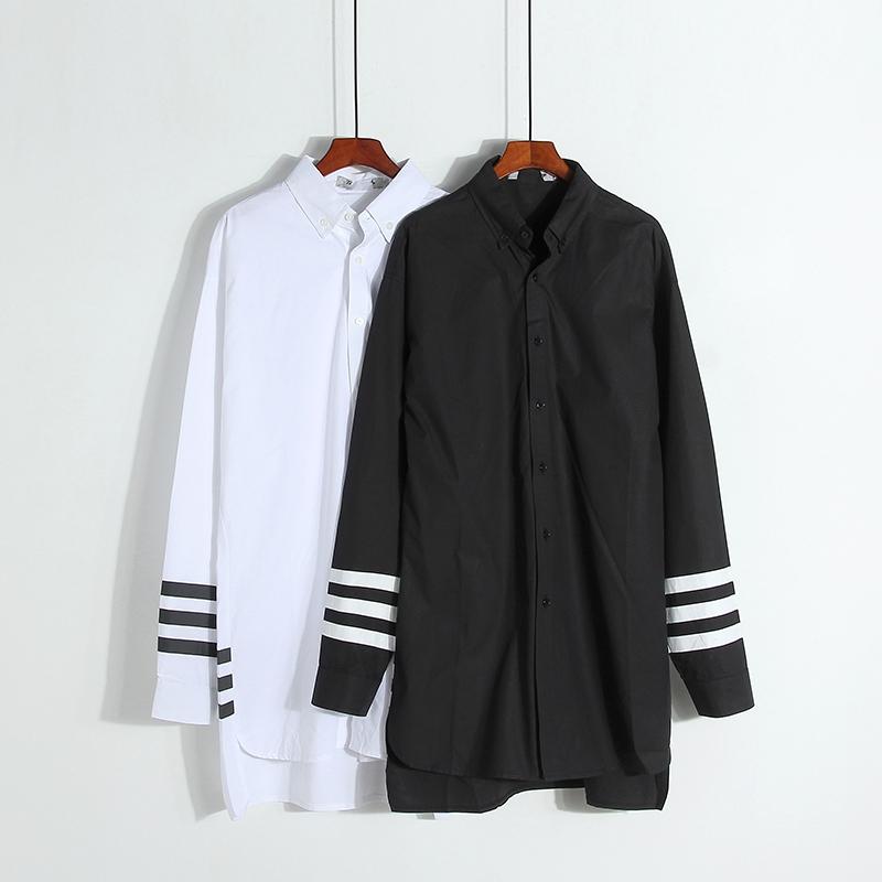 簡約休閒長版襯衫式洋裝(附領結) ( 黑  白 )