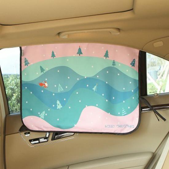 MY COLOR童趣印花磁性遮陽布可摺疊汽車防透視窗簾防曬降溫紫外線側窗護眼Q249