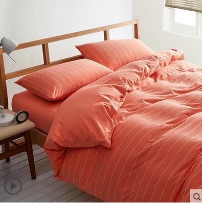 天竺棉四件套純棉簡約條紋床單被套針織棉全棉床笠床上用品橘色寬條