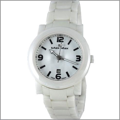 【萬年鐘錶】Max 數字白陶瓷錶 MAS-5080-W1
